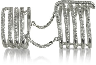 Bernard Delettrez Seven Bands White Gold Articulated Ring w/Diamonds Pave