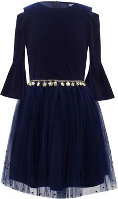 Neiman Marcus David Charles Velour Bell-Sleeve Dress w/ Dotted Mesh Skirt, Size 10-16
