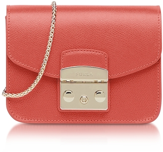 Furla Metropolis Mini Corallo Leather Crossbody Bag $298 thestylecure.com