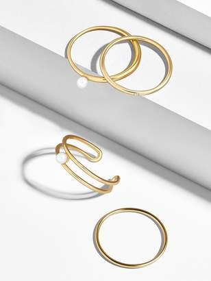 BaubleBar Perla 18k Gold Plated Ring Set