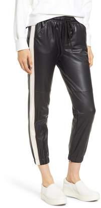 David Lerner Side Stripe Faux Leather Jogger Pants