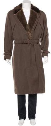 Gucci Shearling-Trimmed Belted Overcoat