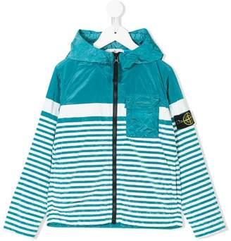 Stone Island Junior striped logo hooded jacket