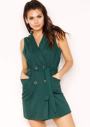 083666504 Missy Empire Missyempire Reanne Emerald Green Button Belted Dress