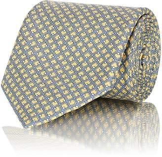 Brioni Men's Crosshatch-Print Silk Twill Necktie