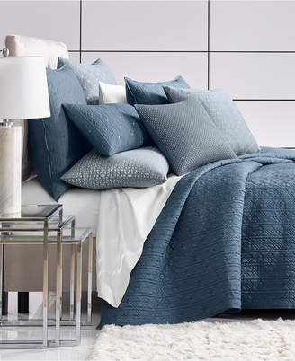 Hotel Collection Cascade 300-Thread Count Blue Quilted King Coverlet, Created for Macy's