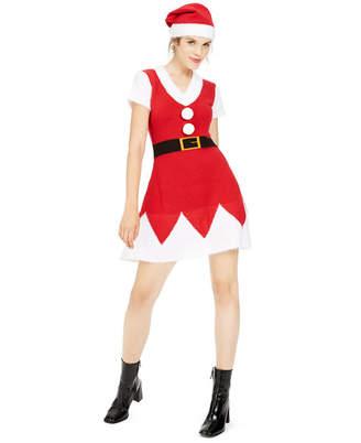 Planet Gold Juniors' Holiday Santa Sweater Dress & Hat