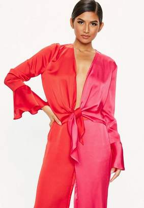 Missguided Orange Satin Colour Block Blouse