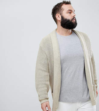 Asos DESIGN Plus Knitted Longline Cardigan In Oatmeal