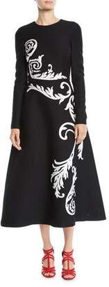 Oscar de la Renta Jewel-Neck Long-Sleeve Scroll-Embroidered Stretch-Wool Tea-Length Dress