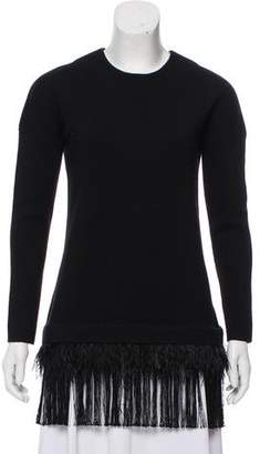 Lela Rose Feather-Trimmed Long Sleeve Top