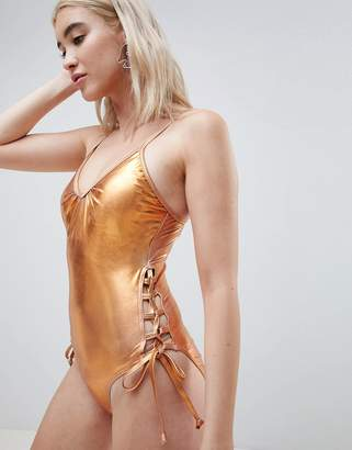 Pieces Metallic Swimsuit With Laced Sides