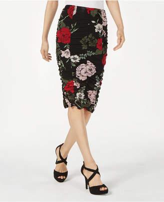Material Girl Juniors' Printed Ruched Midi Skirt
