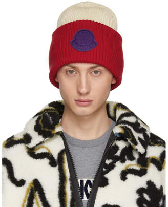 9bf3c0024bc Moncler 2 1952 Red and Off-White Logo Beanie