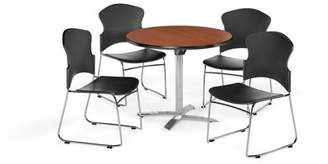 """OFM Multi-Use Break Room Package, 42"""" Round Flip-Top Table with Plastic Stack Chairs, Cherry Finish with Black Seats (PKG-BRK-032)"""