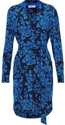 Diane von Furstenberg Belted Printed Silk Crepe De Chine Shirt Dress