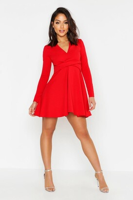 Red Skater Dress With Sleeves - ShopStyle UK ec9a40674
