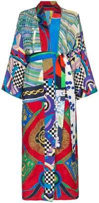 Rianna + Nina long multi checkerboard floral print silk kimono robe