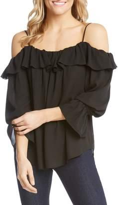 Karen Kane Bracelet Sleeve Cold Shoulder Ruffle Top