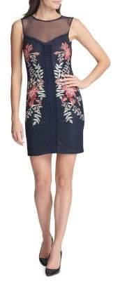 GUESS Embroidered Floral Chiffon Mini Sheath Dress