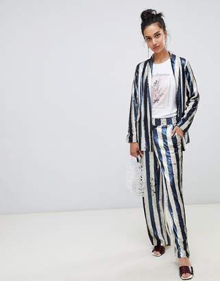 Lost Ink straight leg pants in sequin stripe two-piece