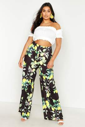 boohoo Plus Lemon Print Slinky Wide Leg Trousers