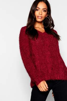 boohoo Cable Knitted Feather Chenille Jumper