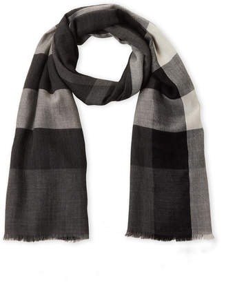 Burberry Black & White Check Cashmere Scarf