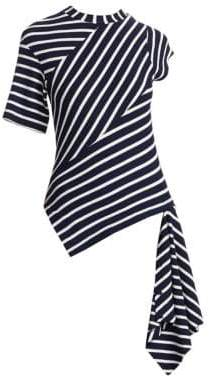 Monse Twisted Striped Asymmetric T-Shirt