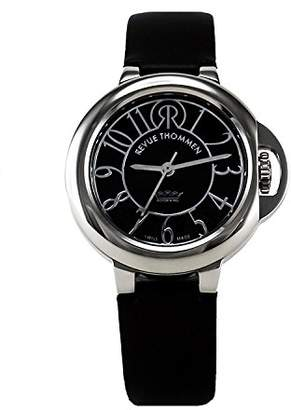 Revue Thommen Cosmo - Lifestyle Women's Automatic Watch with Black Dial Analogue Display and Black Leather Strap 109.01.04