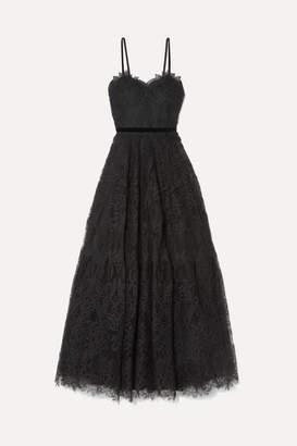 Costarellos Velvet-trimmed Guipure Lace Gown - Black