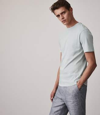 Reiss BERTIE Acid Washed T-Shirt Soft Blue