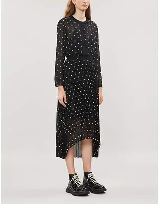 Maje Floral-embroidered crepe dress