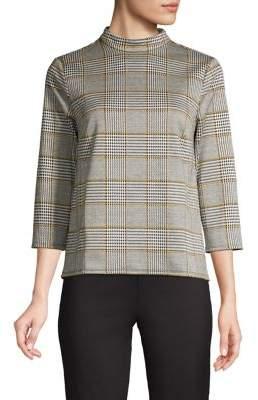 Lord & Taylor Plaid Mockneck Sweater