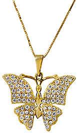 "ADI Paz 14K Crystal Butterfly Pendant w/ 18""Chain"
