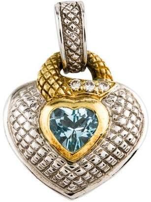 Judith Ripka Topaz & Diamond Heart Pendant