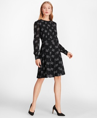 Brooks Brothers Wildflower-Print Georgette Dress