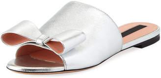 Rochas Metallic Bow Flat Slide Sandal
