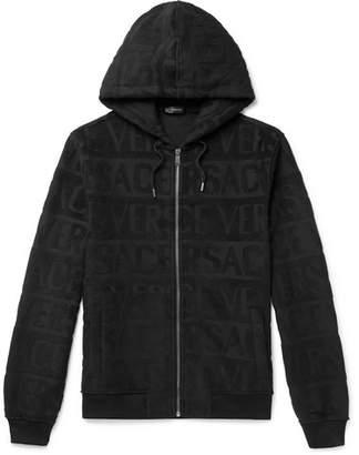 Versace Logo-Jacquard Cotton-Terry Zip-Up Hoodie