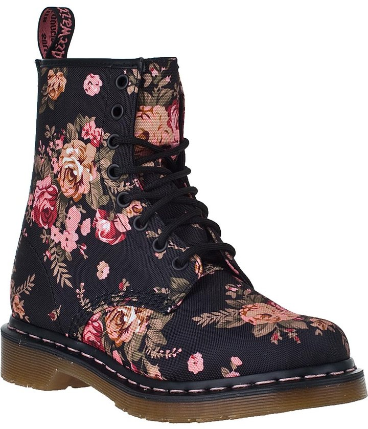 Dr. Martens 1460 Lace-up Boot Black Floral Fabric