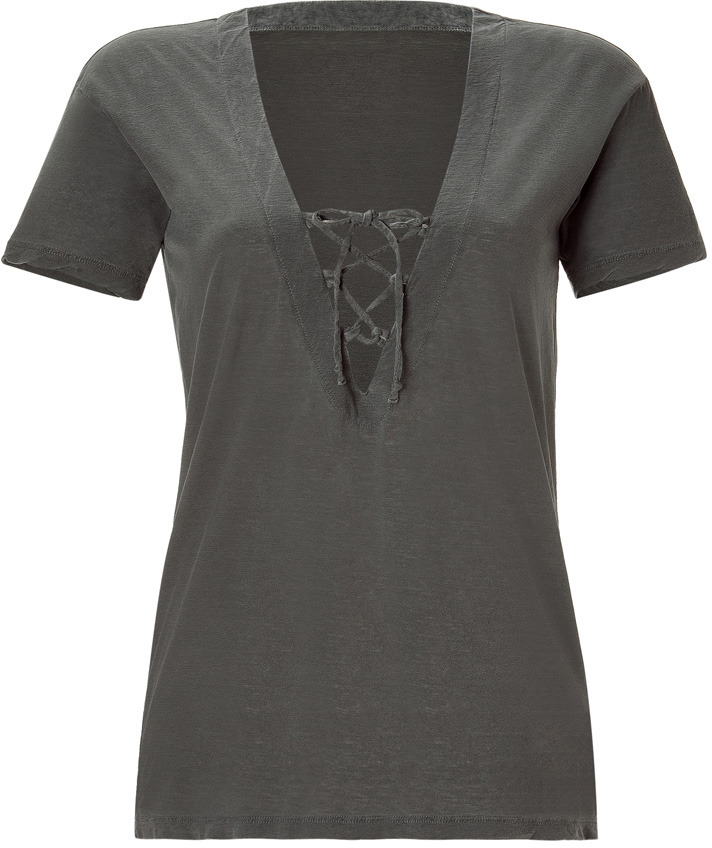 James Perse Jungle Grey Lace Up Slouchy Tee