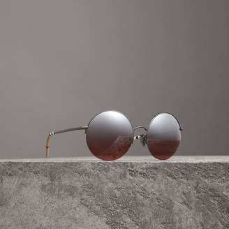 Burberry Mirrored Round Frame Sunglasses