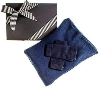 Black Navy Oversized Cashmere Scarf and Cashmere Mittens Gift Set