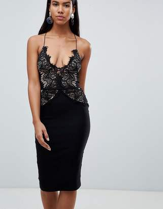 Rare London scallop lace bodice midi dress