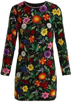 Ashish Magic Flower embellished silk-georgette mini dress