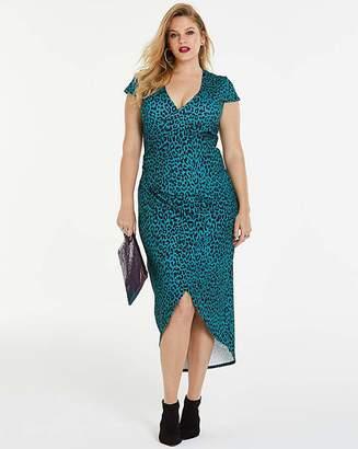 7d0cae4cd62 Teal Print Simply Be By Night Wrap Dress