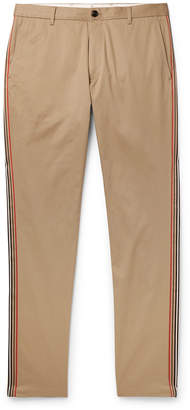Burberry Slim-Fit Grosgrain-Trimmed Cotton-Twill Chinos - Men - Brown