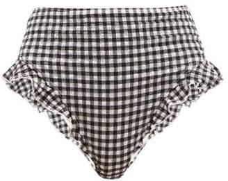 Solid & Striped The Lana Ruffled Gingham Seersucker Bikini Briefs - Womens - Black White