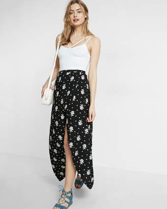 Express High Waisted Floral Print Wrap Maxi Skirt