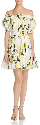 Aqua Off-the-Shoulder Lemon Print Dress - 100% Exclusive